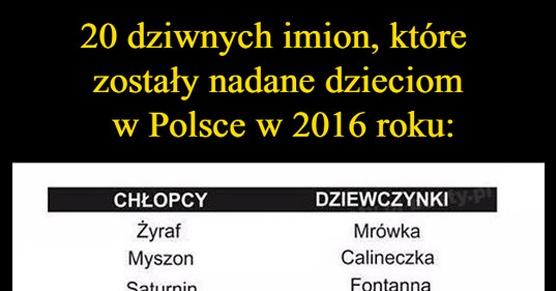 20 dziwnych imion, które zostały nadane dzieciom w Polsce w roku 2016