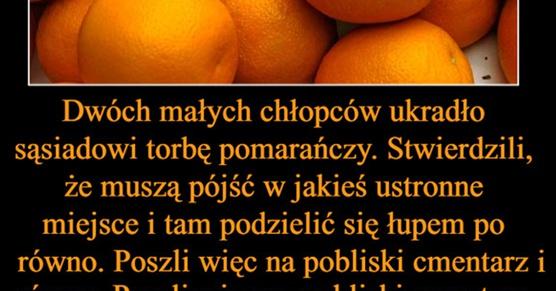 Dwóch małych chłopców ukradło sąsiadowi torbę pomarańczy...