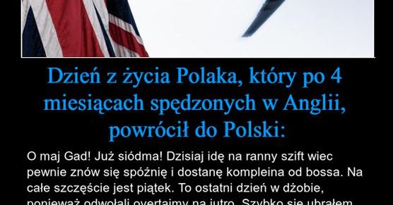 Dzień z życia Polaka, który po 4 miesiącach spędzonych w Anglii, powrócił do Polski...