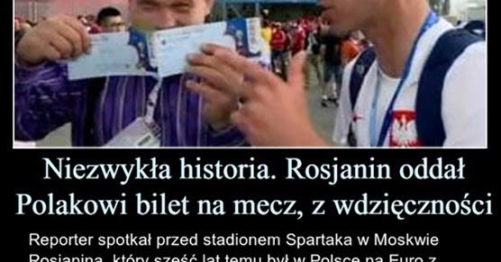 Niezwykła historia. Rosjanin oddał Polakowi bilet na mecz, z wdzięczności