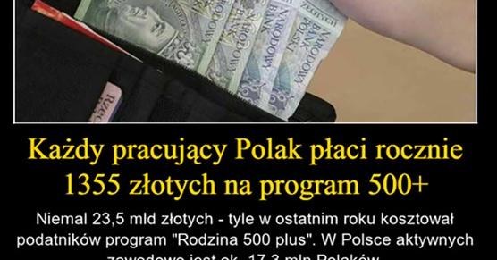 Każdy pracujący Polak płaci rocznie 1355 złotych na program 500 plus
