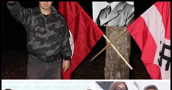 Zdjęcie dziennikarza TVN uczestniczącego w prowokacji na urodzinach Hitlera i pokazującego gest nazistowskiego pozdrowienia. Później odebrał nagrodę za reportaż
