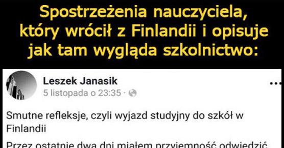 Spostrzeżenia nauczyciela, który wrócił z Finlandii