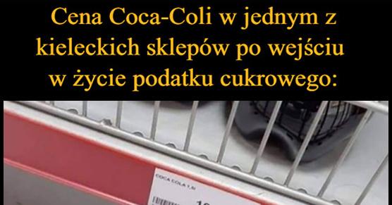 Cena Coca-Coli w jednym z kieleckich sklepów po wejściu w życie podatku cukrowego