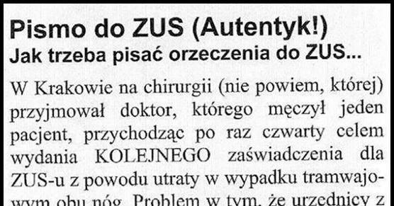Autentyczne pismo do ZUS