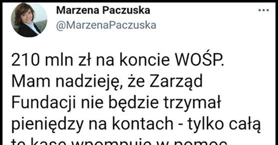 Była szefowa Wiadomości TVP domaga się żeby pieniądze z WOŚP trafiły na pomoc w walce z Covid-19 Łatwo dysponować nie...