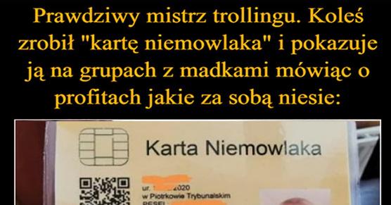 Mistrz trollingu. Koleś zrobił kartę niemowlaka i pokazuje ją na grupach z madkami mówiąc o profitach jakie za sobą niesie
