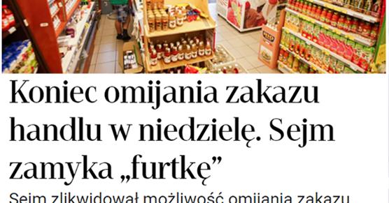 Zakaz handlu w niedziele. Sejm właśnie zlikwidował popularną